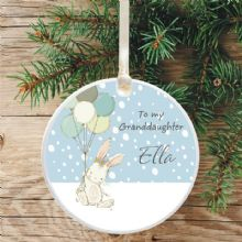 Ceramic Granddaughter/Grandson Keepsake Christmas Decoration - Cute Bunny and Balloons Design
